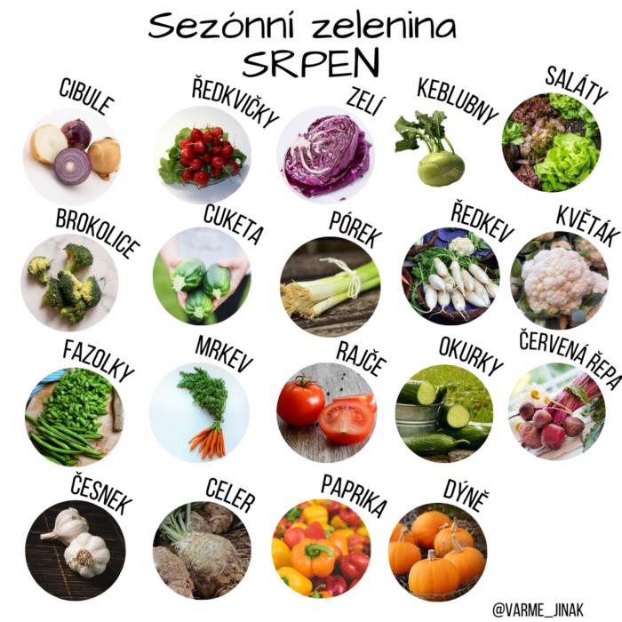 Sezónní ovoce a zelenina v srpnu